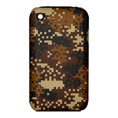 Pixel Brown Camo Pattern Apple iPhone 3G/3GS Hardshell Case (PC+Silicone)