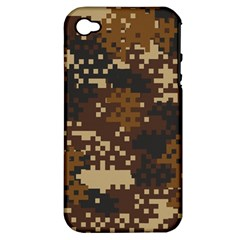 Pixel Brown Camo Pattern Apple iPhone 4/4S Hardshell Case (PC+Silicone)