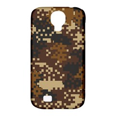Pixel Brown Camo Pattern Samsung Galaxy S4 Classic Hardshell Case (PC+Silicone)