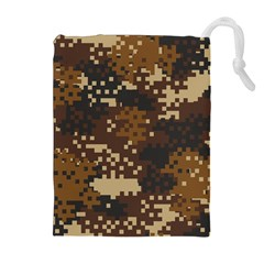 Pixel Brown Camo Pattern Drawstring Pouches (Extra Large)