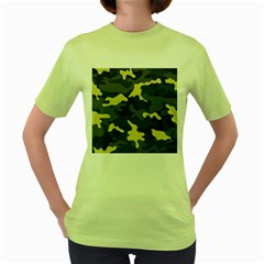 Green Camo Pattern Women s Green T-Shirt