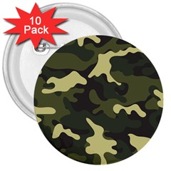 Green Camo Pattern 3  Buttons (10 pack)