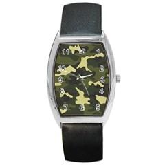 Green Camo Pattern Barrel Style Metal Watch