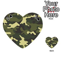 Green Camo Pattern Playing Cards 54 (Heart)