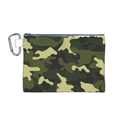 Green Camo Pattern Canvas Cosmetic Bag (M)