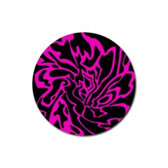 Magenta and black Rubber Coaster (Round)