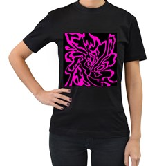 Magenta and black Women s T-Shirt (Black) (Two Sided)