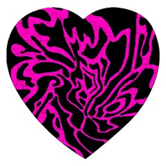 Magenta And Black Jigsaw Puzzle (heart)