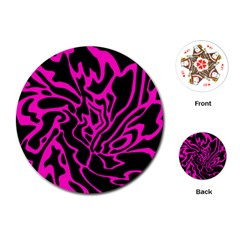 Magenta and black Playing Cards (Round)