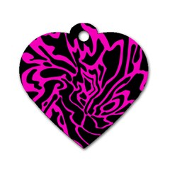 Magenta and black Dog Tag Heart (Two Sides)
