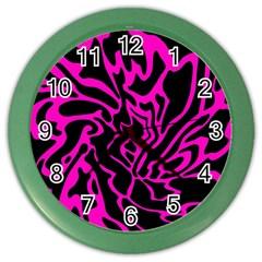 Magenta and black Color Wall Clocks