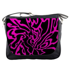 Magenta and black Messenger Bags