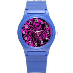 Magenta and black Round Plastic Sport Watch (S)