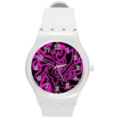 Magenta and black Round Plastic Sport Watch (M)
