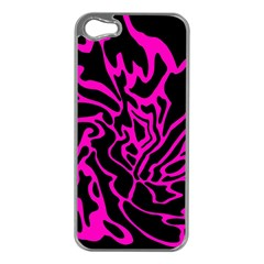 Magenta and black Apple iPhone 5 Case (Silver)