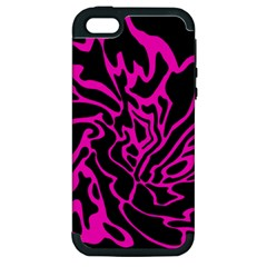 Magenta and black Apple iPhone 5 Hardshell Case (PC+Silicone)