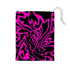 Magenta and black Drawstring Pouches (Large)