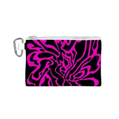Magenta and black Canvas Cosmetic Bag (S)