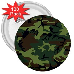 Woodland Camouflage Pattern 3  Buttons (100 pack)