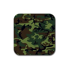 Woodland Camouflage Pattern Rubber Square Coaster (4 pack)