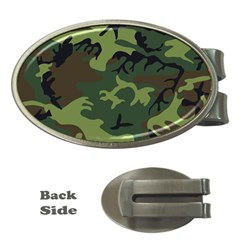 Woodland Camouflage Pattern Money Clips (Oval)