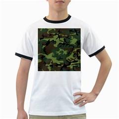 Woodland Camouflage Pattern Ringer T-Shirts