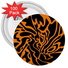Orange and black 3  Buttons (100 pack)