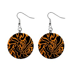 Orange and black Mini Button Earrings