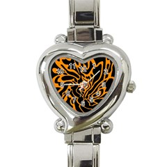 Orange and black Heart Italian Charm Watch