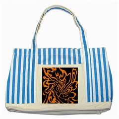 Orange and black Striped Blue Tote Bag