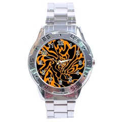 Orange and black Stainless Steel Analogue Watch