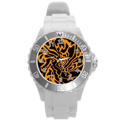Orange and black Round Plastic Sport Watch (L)