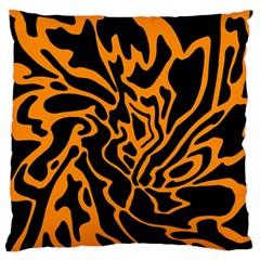Orange and black Large Cushion Case (Two Sides)