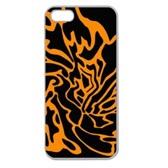 Orange and black Apple Seamless iPhone 5 Case (Clear)