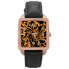 Orange and black Rose Gold Leather Watch