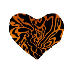 Orange and black Standard 16  Premium Flano Heart Shape Cushions