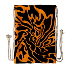 Orange and black Drawstring Bag (Large)