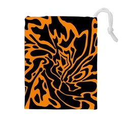 Orange and black Drawstring Pouches (Extra Large)