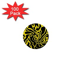 Black and yellow 1  Mini Magnets (100 pack)