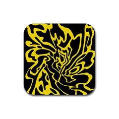 Black and yellow Rubber Coaster (Square)