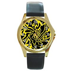 Black and yellow Round Gold Metal Watch