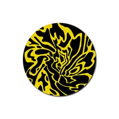 Black and yellow Rubber Round Coaster (4 pack)