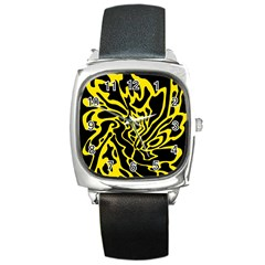 Black and yellow Square Metal Watch