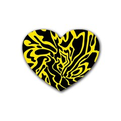 Black and yellow Rubber Coaster (Heart)