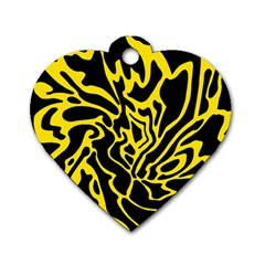 Black and yellow Dog Tag Heart (One Side)