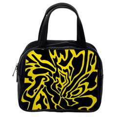 Black and yellow Classic Handbags (One Side)