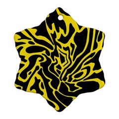Black and yellow Snowflake Ornament (2-Side)