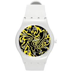 Black and yellow Round Plastic Sport Watch (M)
