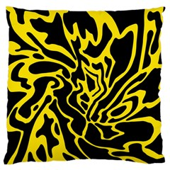 Black and yellow Large Cushion Case (Two Sides)