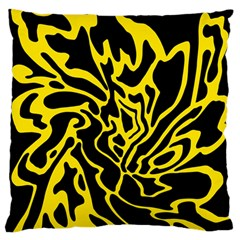 Black and yellow Large Flano Cushion Case (Two Sides)